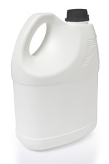 white gallon and black color cap polyethylene on white backgroun