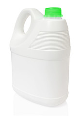 white gallon and green color cap plastic on white background inc