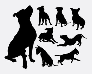 Pitbull, bulldog, terrier, dog animal silhouettes