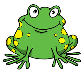 Vector cartoon of a happy frog
