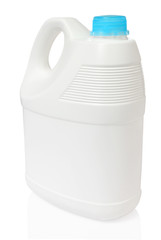 white gallon and cyan color cap plastic on white background incl