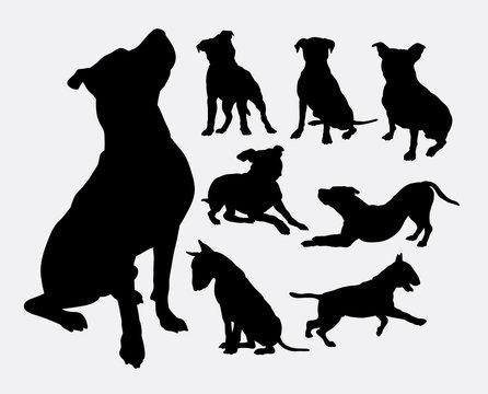Pitbull, bulldog, terrier, dog animal silhouettes