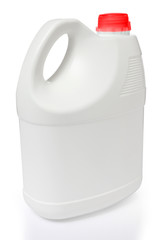 white gallon and red color cap polyethylene on white background
