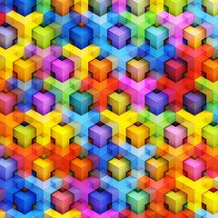 Colorful 3D boxes background - vibrant cubes pattern