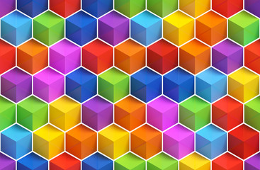 Colorful 3D boxes background - vibrant cubes seamless pattern