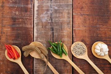 Spices and herbs in  wooden spoons.