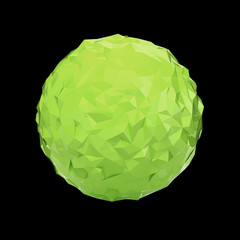 Green triangular 3D sphere on black isolated with clipping path