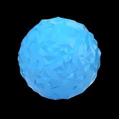 Blue triangular 3D sphere on black isolated with clipping path