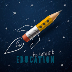 Smart education. Rocket ship launch with pencil - sketch on the