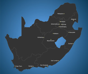 Political South Africa map with Main Cities