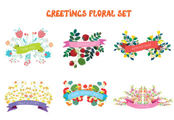 Floral design elements set with ribbons for greeting cards
