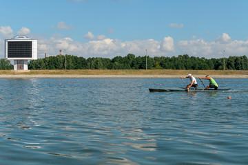 Training athletes kayaking.