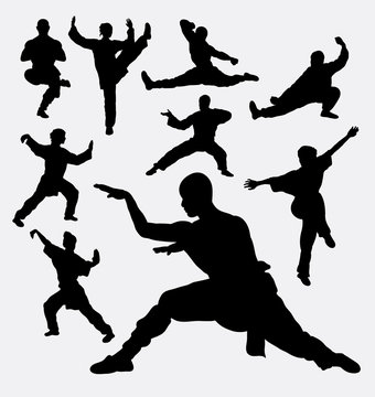 Wushu male and female martial art silhouettes