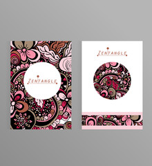 Brochure or greeting card design with zentangle style ornament.Hand drawn vector illustration.