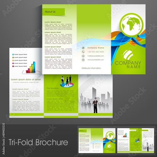 professional tri fold brochure template or flyer for ecology