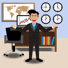 Businessman With Office. Vector Illustration