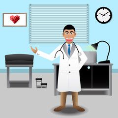 Doctor At Medical Office In The Hospital. Vector Illustration