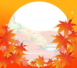 日本、紅葉、もみじ、楓、カエデ、風景、円形、