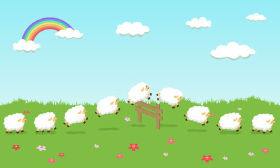 Seamless Pattern Queue Counting Sheep in Field