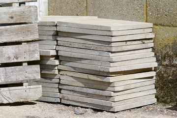 Stack of concrete paving slabs