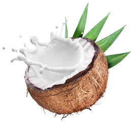 Coconut with milk splash inside.