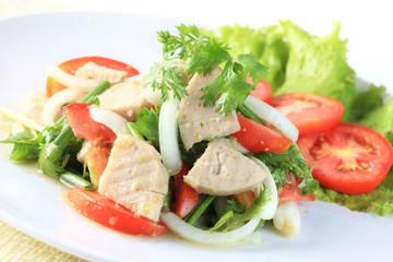 Spicy salad of white pork sausage, Popular Thai food