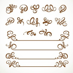 Calligraphic vintage elements for design on a white background