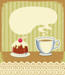 Vintage tea time background with sweet desert.Vector illustratio