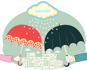 Hands holding umbrellas in raining day.Vector retro colored imag