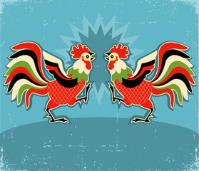 rooster fight.vector color illustration background