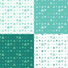 Set of vector seamless pattern of colored triangles drawn by hand
