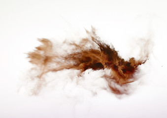 powder explosion isolated on white background