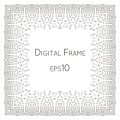 Intricate Digital vector frame with small rectangles.