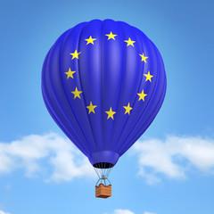 Hot air balloon with European Union flag