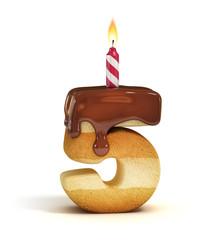 Birthday cake font number 5