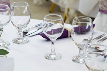 elegant restaurant table with glasses