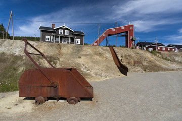 Old rust mining truck at copper mine camp, Foldall, Norway