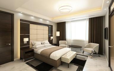Hotel Room In Dark Wood Pannels
