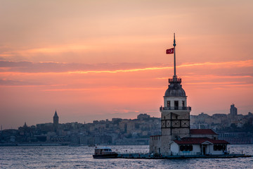 Maiden's Tower in sunset. Istanbul, Turkey
