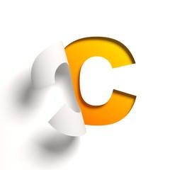 Curl paper font letter C