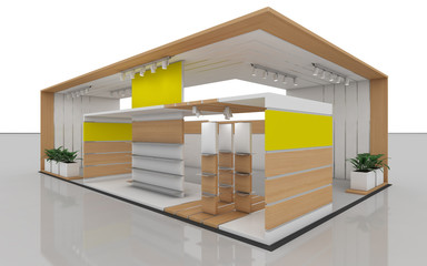 Exhibition Stand In Yellow And White