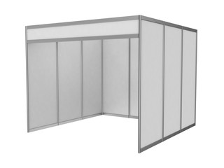 Exhibition stand with white walls, empty