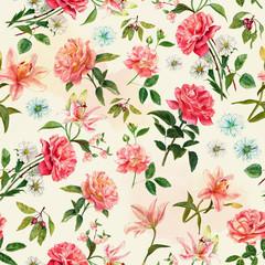 Vintage style watercolour rose seamless pattern
