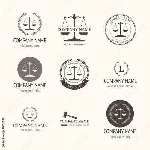Law firm logo template. set of vintage labels. \