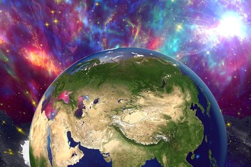The Earth from space showing Russia, China, Asia on surrealistic background with stars and galaxies, elements of this image furnished by NASA, other orientations available