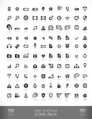 Vector set with simple icons. 100 Elements.