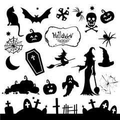 Set of silhouettes for Halloween party. Funny and scary silhouet