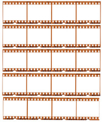 Realistic gritty scan of 35mm color negative film strips. Blank frames.
