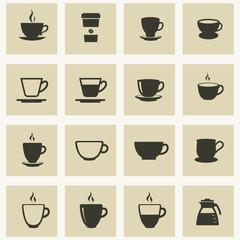 Coffee & tea icons set. Cups for coffee and tea.