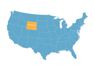 blue vector map of United States with indication of Wyoming